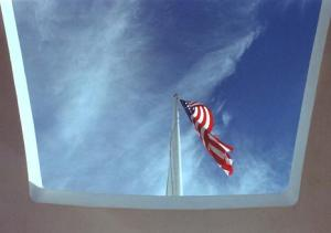Flag flying over USS Arizona Memorial